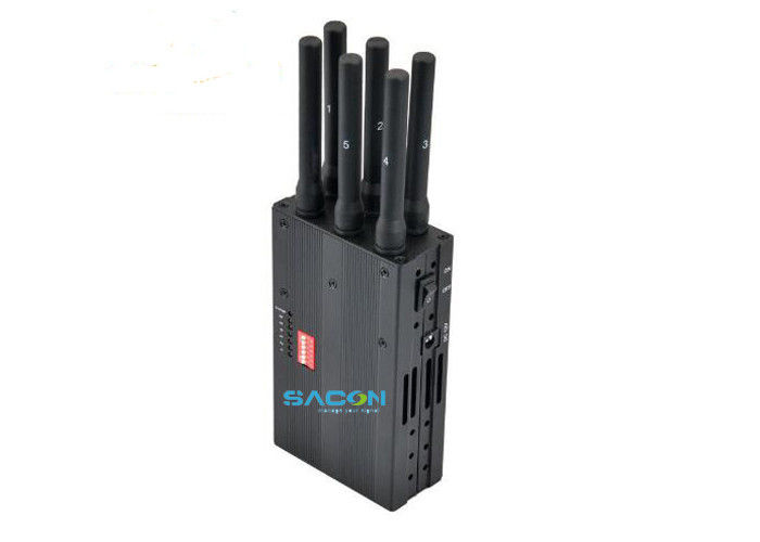 DC12V 3G 4G Signal Jammer Handheld 6pcs Omni Antennas For Temples / Churches